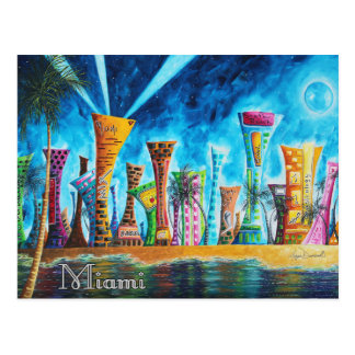 Miami South Beach Florida Pop Art Travel Postcard