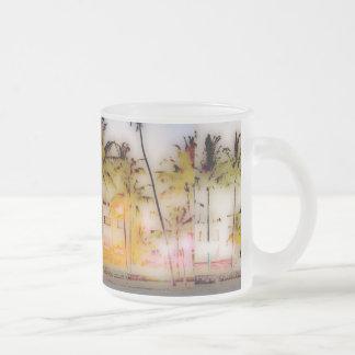 miami south beach frosted glass coffee mug