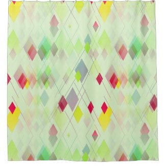 Miami-Style Diamond Patterned Shower Curtain