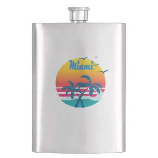 Miami, summer retro vintage flask