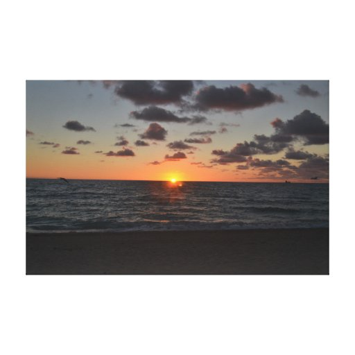 miami sunset stretched canvas prints