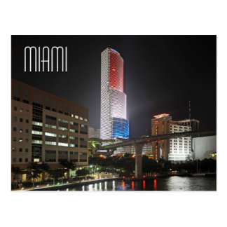 Miami Tower in red white and blue colors Postcard
