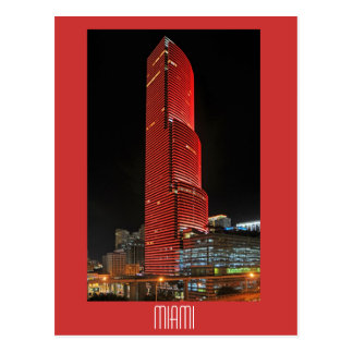 Miami Tower, reflections of red Postcard
