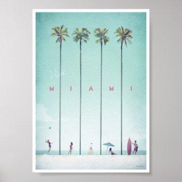 Beach Themed Miami Vintage Travel Poster
