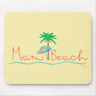 Miami with Palm and Umbrella Mouse Pad