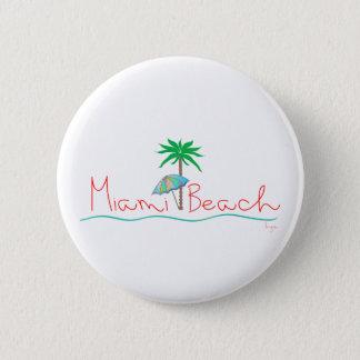 Miami with Palm and Umbrella Pinback Button