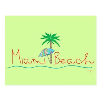 Miami with Palm and Umbrella Postcard