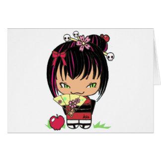 Miao asustadizo lindo - muñeca gótica del kokeshi tarjetas