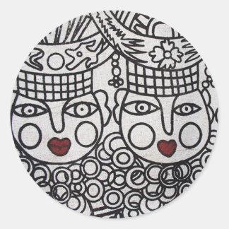 Miao Screen Print: 3 Royal Ladies Classic Round Sticker