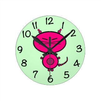 Miaow Kitty Cat Round Clock