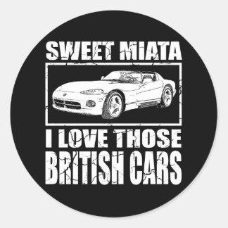 Miata Viper british car joke Classic Round Sticker