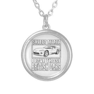 Miata Viper british car joke Silver Plated Necklace