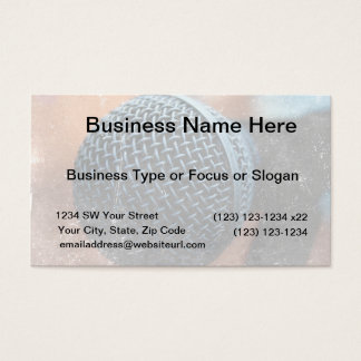mic close up photo grunge overlay color music business card