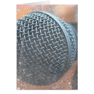 mic close up photo grunge overlay color music card