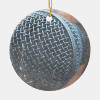 mic close up photo grunge overlay color music ceramic ornament