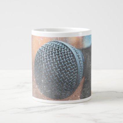 mic close up photo grunge overlay color music 20 oz large ceramic coffee mug