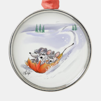 Mic, Mac And Moe's Winter Holiday Round Ornament