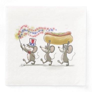 USA Themed Mic, Mac & Moe's Happy 4th of July Paper Napkin