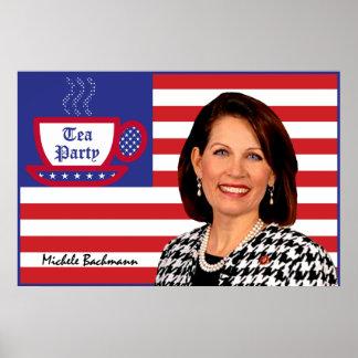 Micaela Bachmann y la bandera de la fiesta del té Póster