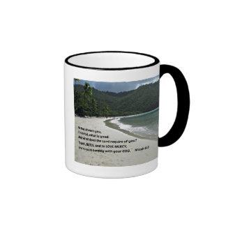 Micah 6:8 He has shown you, O mortal, .... Ringer Mug