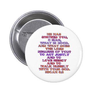 Micah 6:8 pinback button
