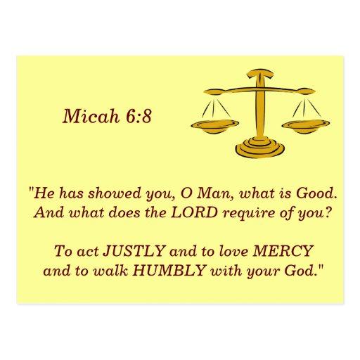 Micah 6 8 Scripture Memory Card Post Card