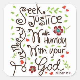 Micah 6:8 Seek Justice Love Mercy Square Sticker