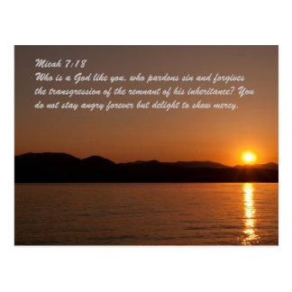 Micah 7:18 Who is a God like you, who pardons sin Postcard