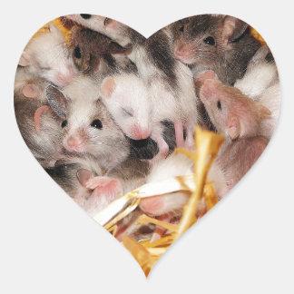 mice-3958 pegatina en forma de corazón