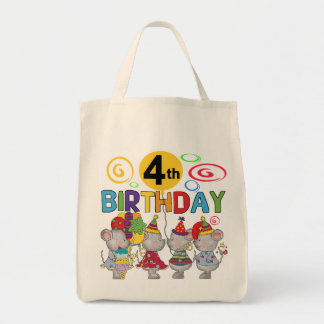 Mice 4th Birthday T-shirts and Gifts Grocery Tote Bag