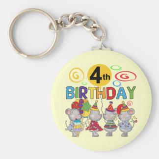 Mice 4th Birthday T-shirts and Gifts Basic Round Button Keychain