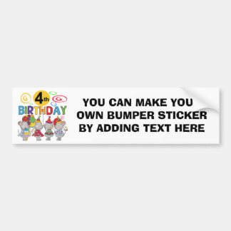 Mice 4th Birthday T-shirts and Gifts Bumper Sticker