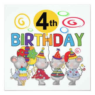 Mice 4th Birthday T-shirts and Gifts Card