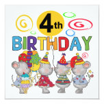 Mice 4th Birthday T-shirts and Gifts Custom Invitation