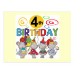 Mice 4th Birthday T-shirts and Gifts Post Cards