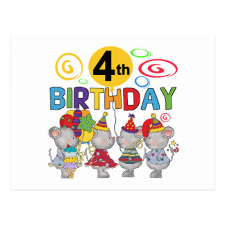 Mice 4th Birthday T-shirts and Gifts Postcard