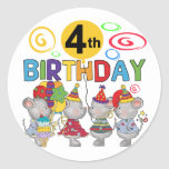 Mice 4th Birthday T-shirts and Gifts Round Stickers