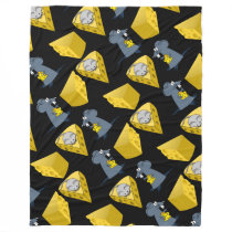 Mice and Cheese Pattern on Fleece Blanket