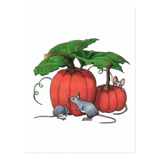 Mice And Pumpkins: Cute Autumn Scene: Art Postcard