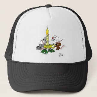 Mice and the christmas candle trucker hat