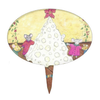 Mice around a Cheese Christmas Tree Cake Toppers