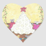 Mice around a Cheese Christmas Tree Heart Sticker