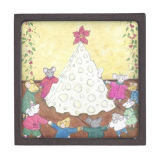 Mice around a Cheese Christmas Tree Premium Jewelry Boxes