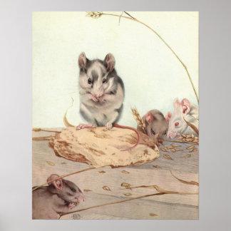 Mice by E. J. Detmold Poster