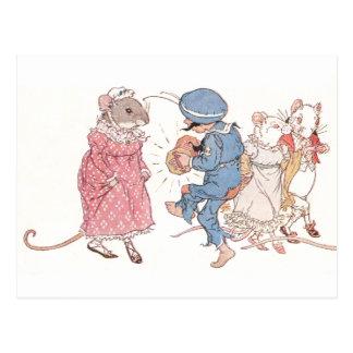 Mice Dancing to Concertina Postcard