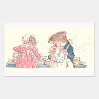 Mice Doing Dishes Rectangular Sticker