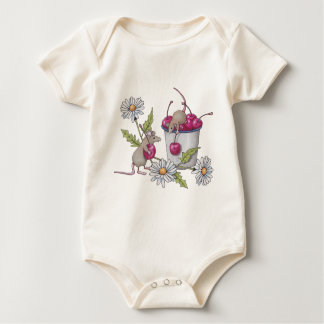 Mice Gathering Cherries, With Daisies Baby Bodysuit