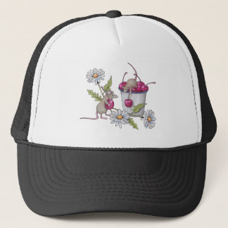Mice Gathering Cherries, With Daisies Trucker Hat