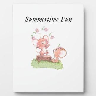 Mice having a little summer fun plaque