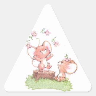Mice having a little summer fun triangle sticker